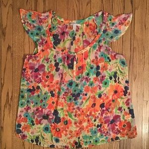🌵COLORFUL FLOWERS ON CAP SLEEVE TOP